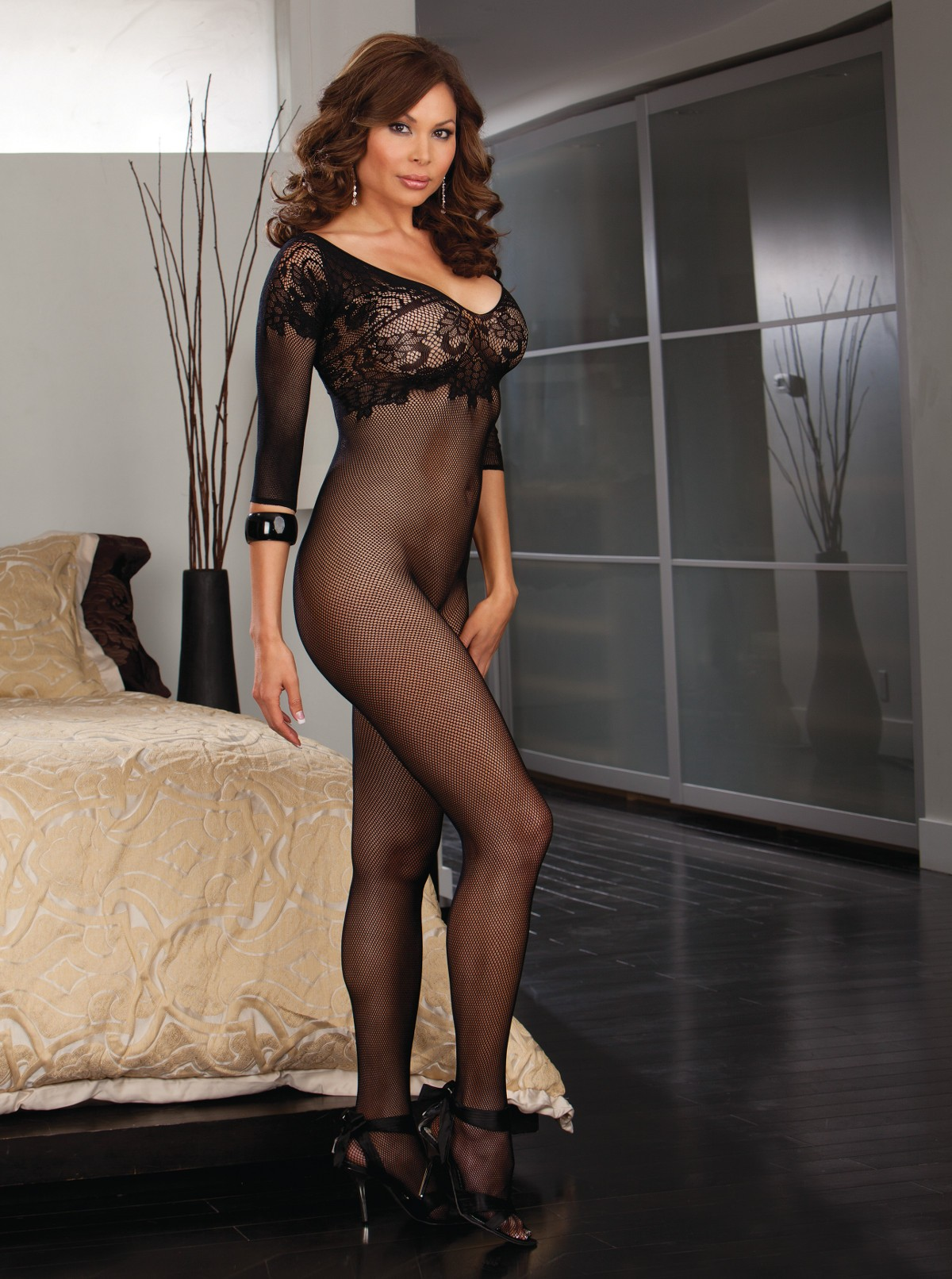 Plus Size Lace Neckline Open Crotch Bodystocking