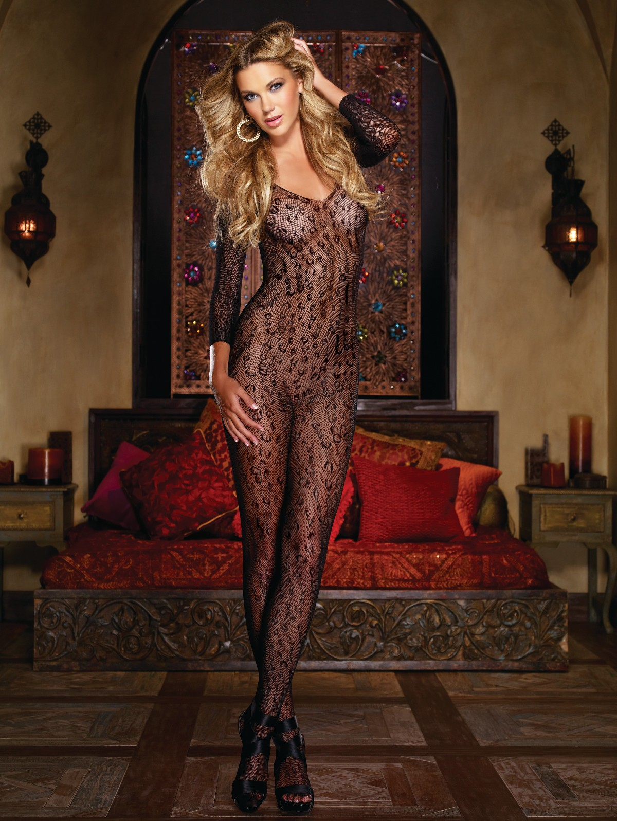 Leopard Fishnet Open Crotch Bodystocking