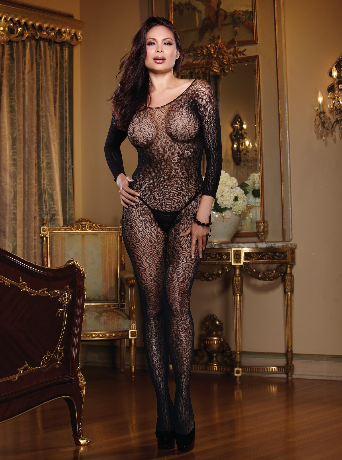 Plus Size Leopard Fishnet Open Crotch Bodystocking