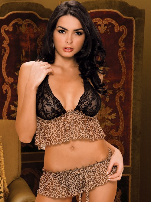 Leopard Cami And Skirted Thong