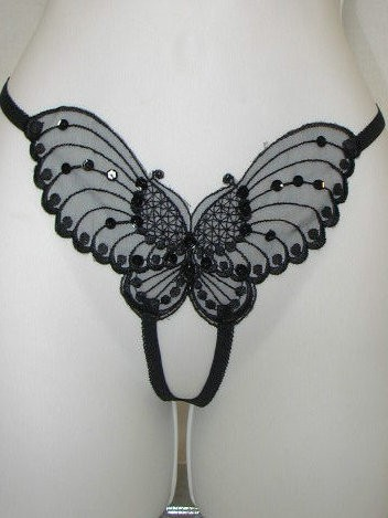 PLUS SIZE Butterfly Appliqued Crotchless Thong
