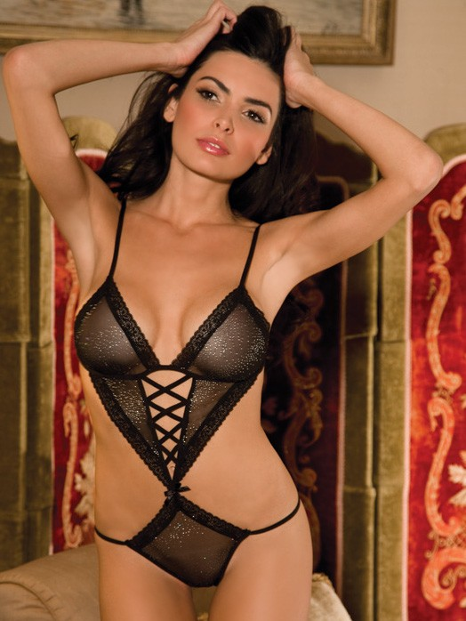 Sparkle Mesh And Lace Teddy