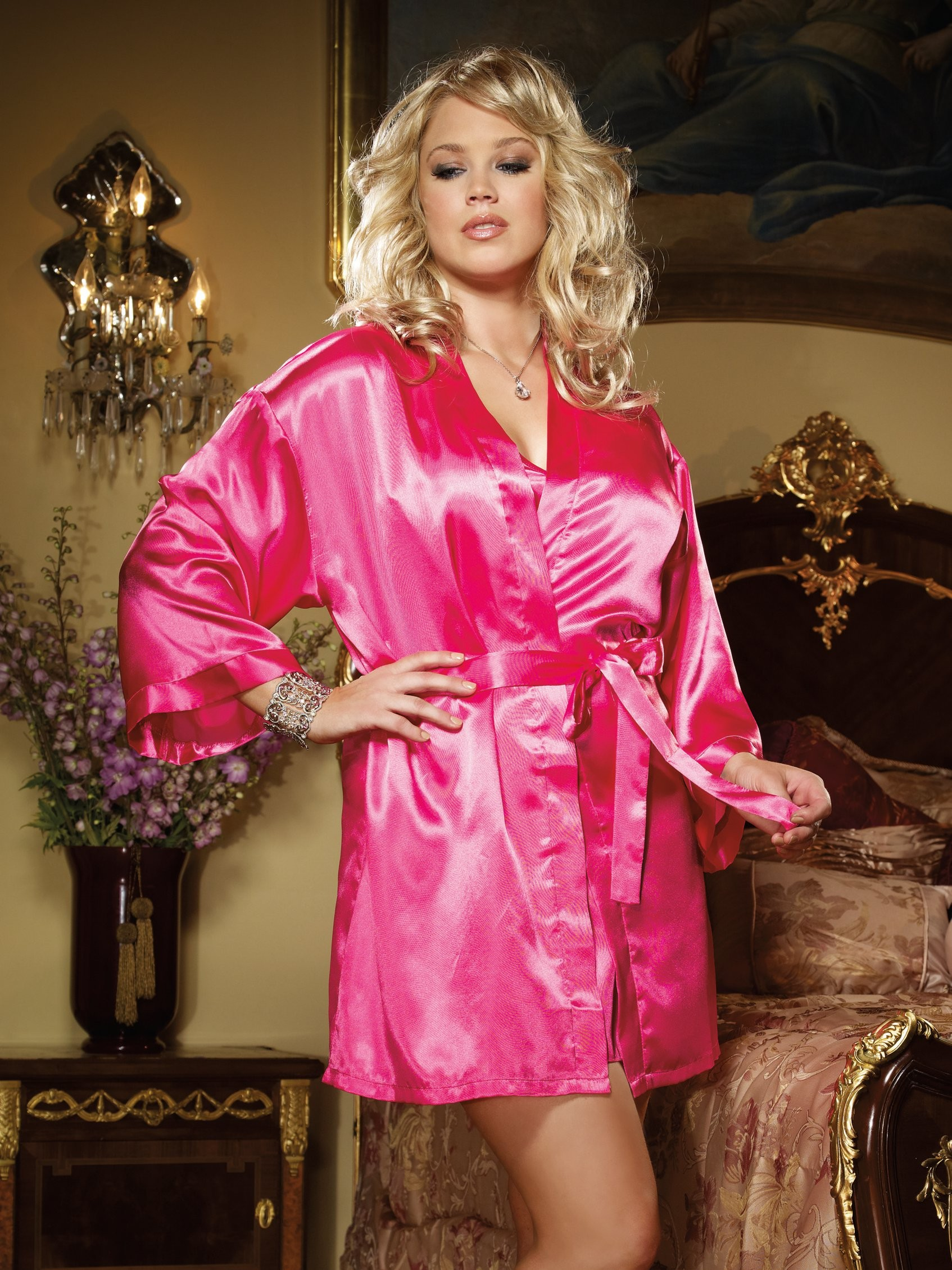 Plus Size  Babydoll And Robe 3 PC Set