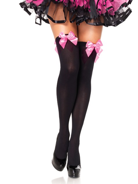 Opaque Thigh High With Satin Bow