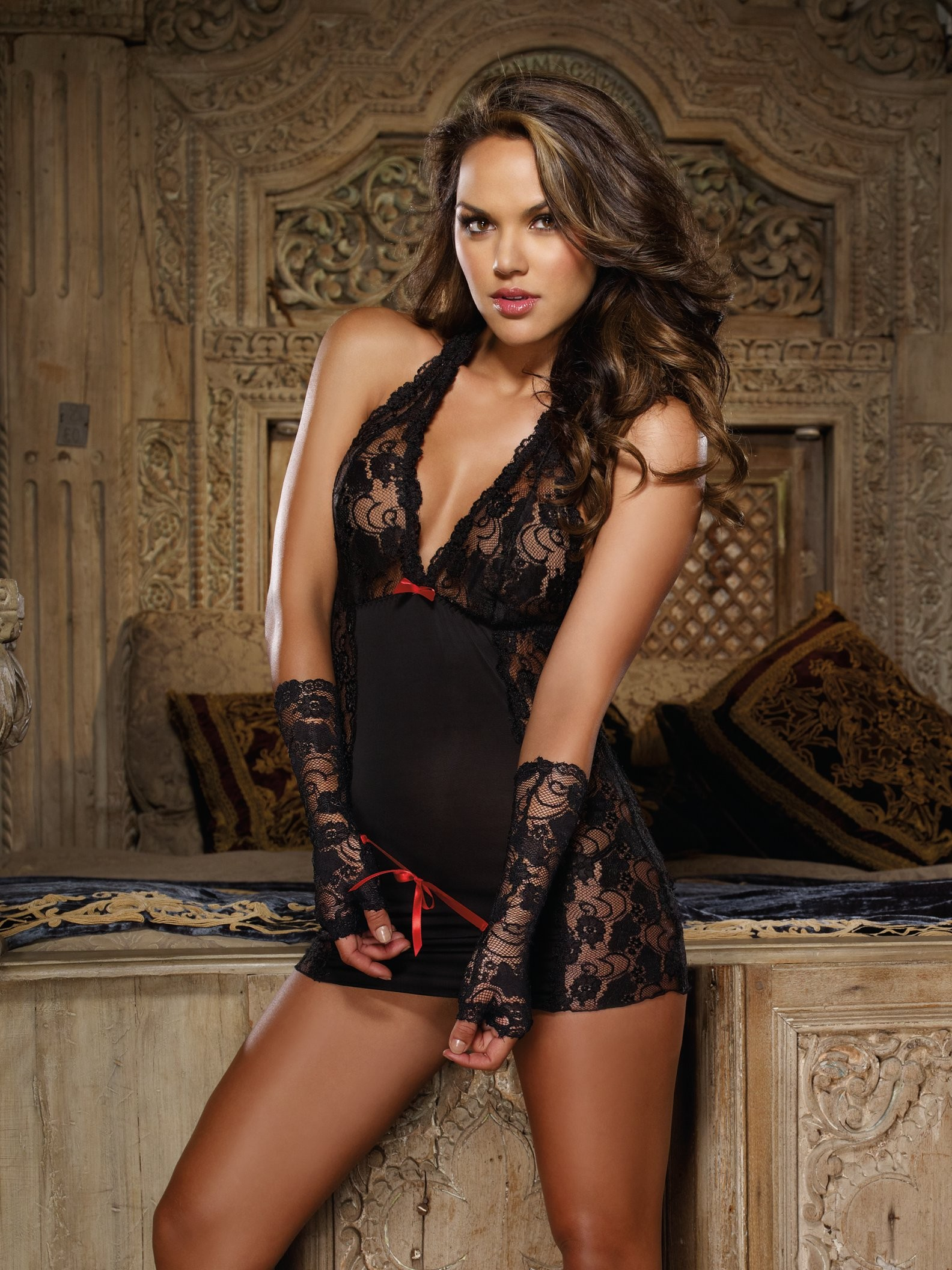 Stretch Lace 3 PC Chemise Set
