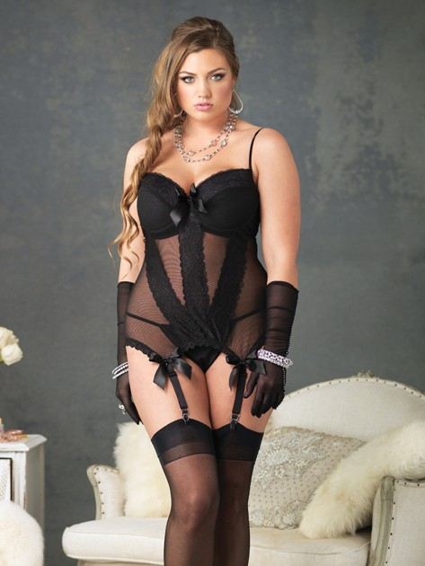 Sexy Mesh Bustier 2 PC Set
