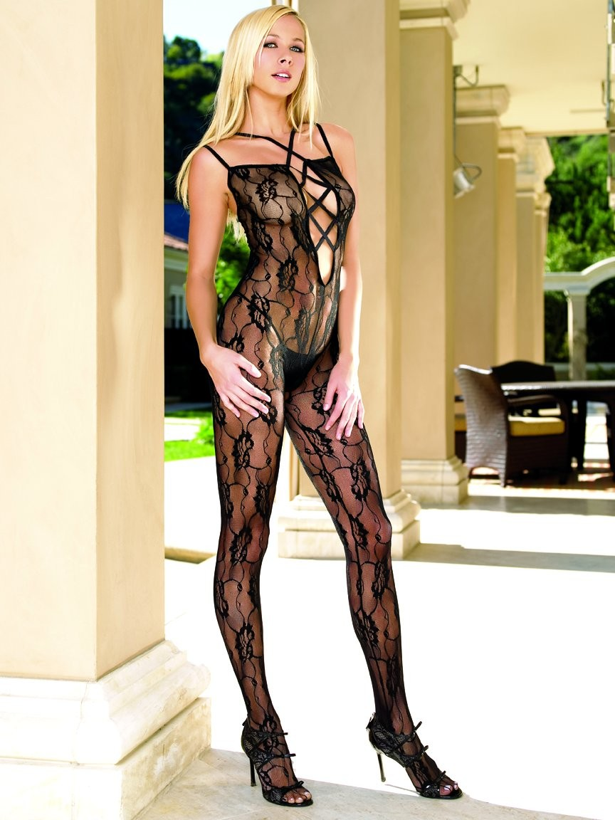 Criss Cross Front Bodystocking