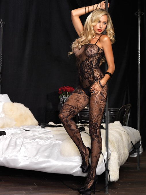 Floral Crotchless Bodystocking