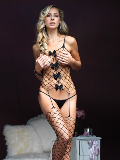 Net And Bows Suspender Bodystocking