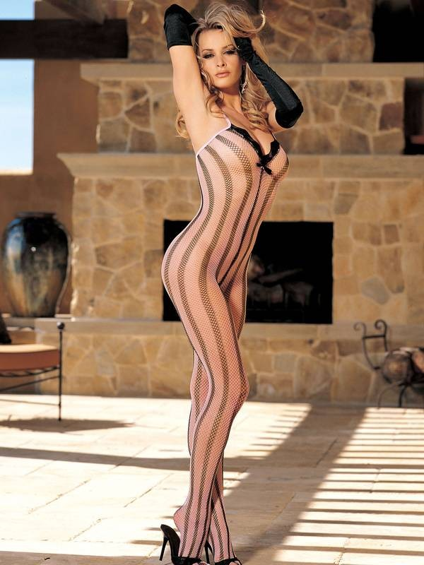 Pink Striped Open Crotch Bodystocking