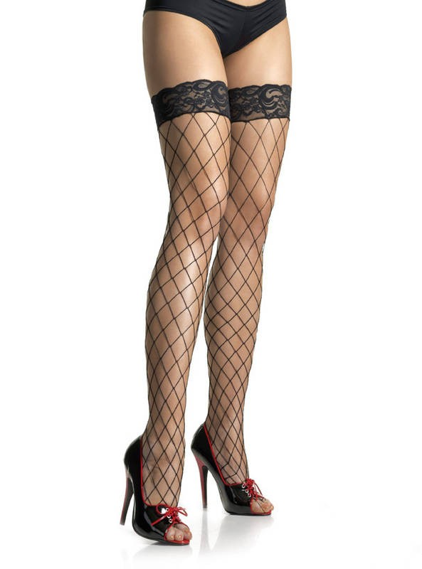 Lace Top Fence Net Thigh Highs