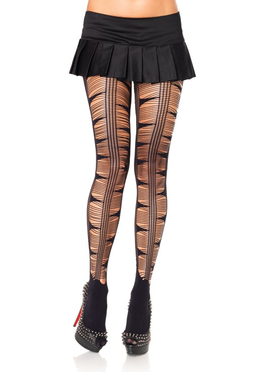 Net Stripes Opaque Pantyhose