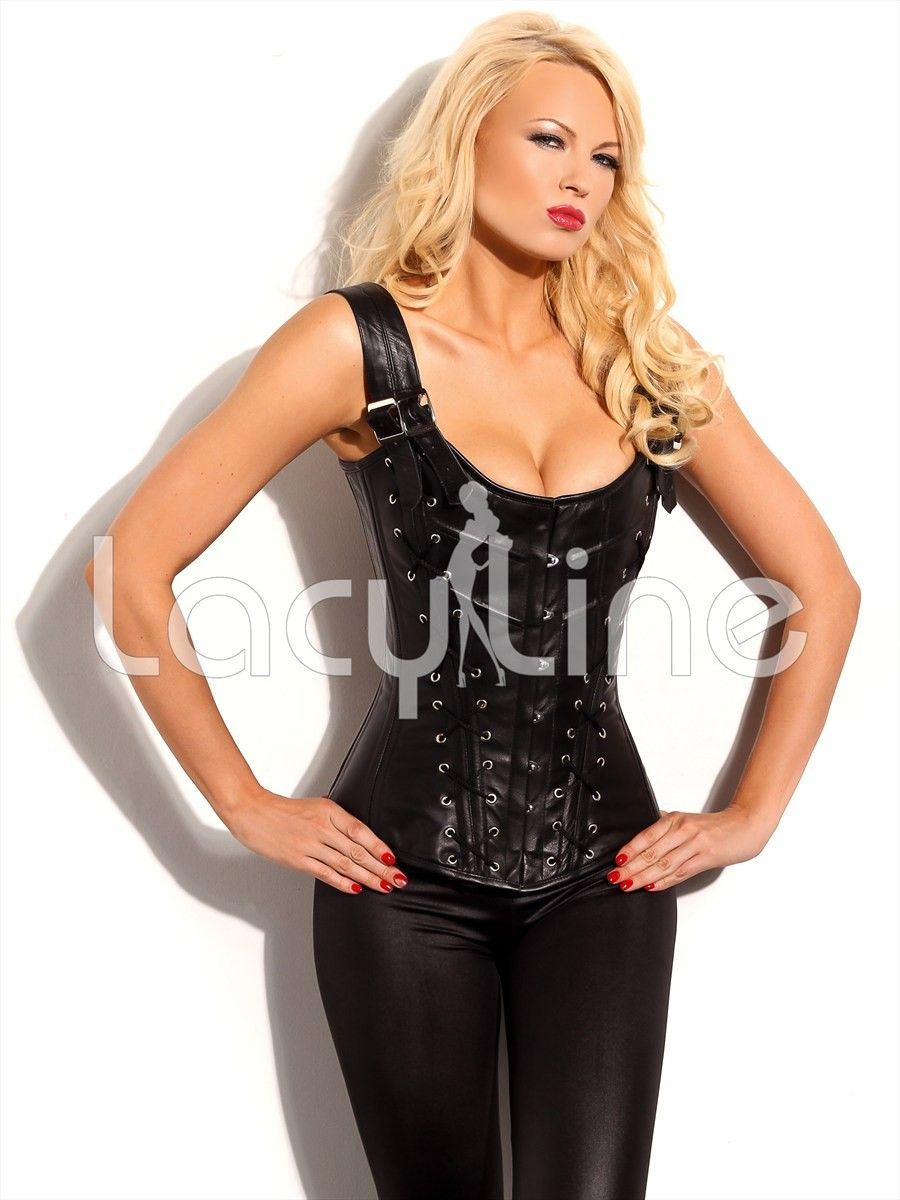 Steel Boned Genuine Leather Lace Up Corset
