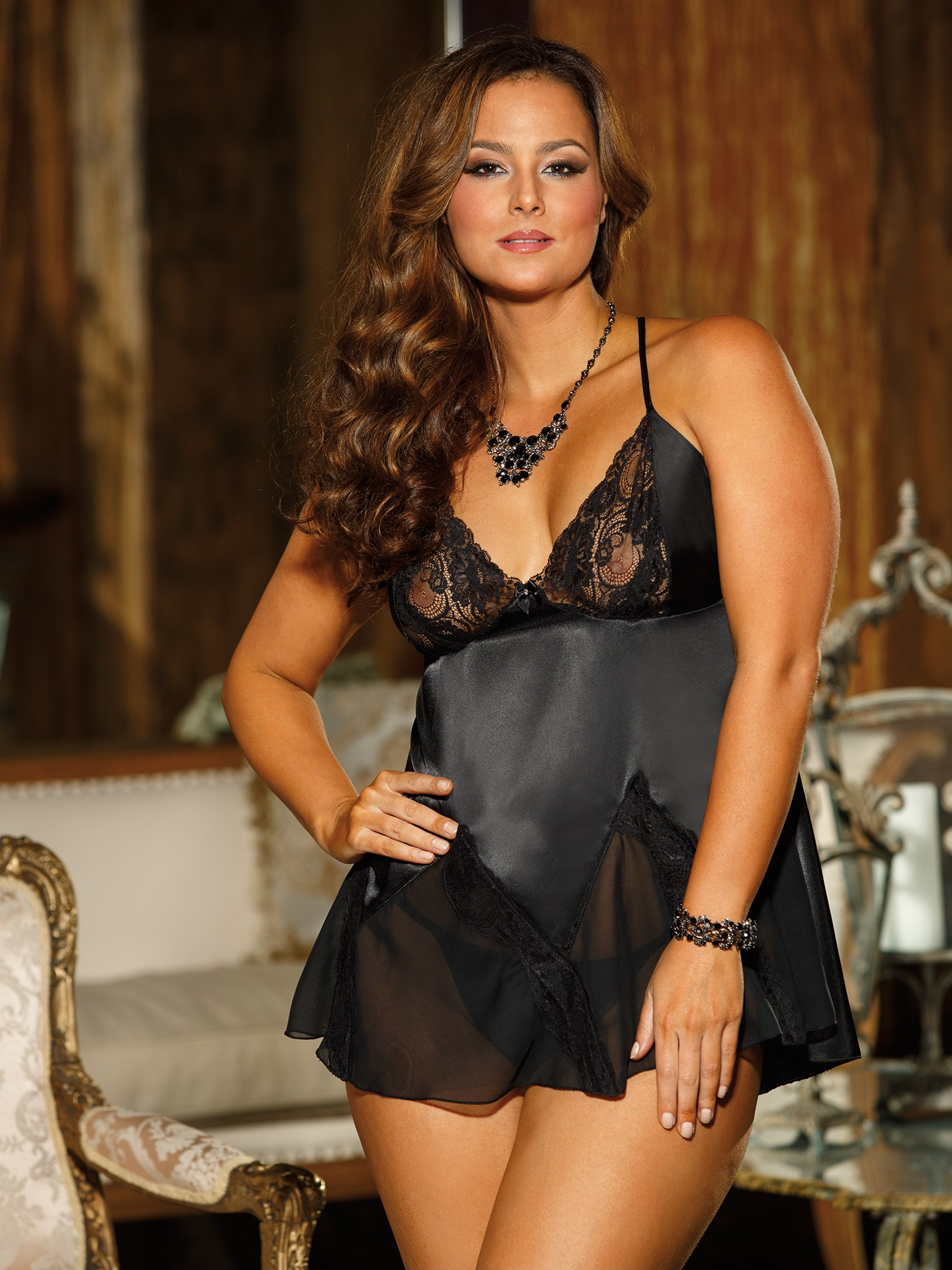 Plus Size Elegant Charmeuse Babydoll Set