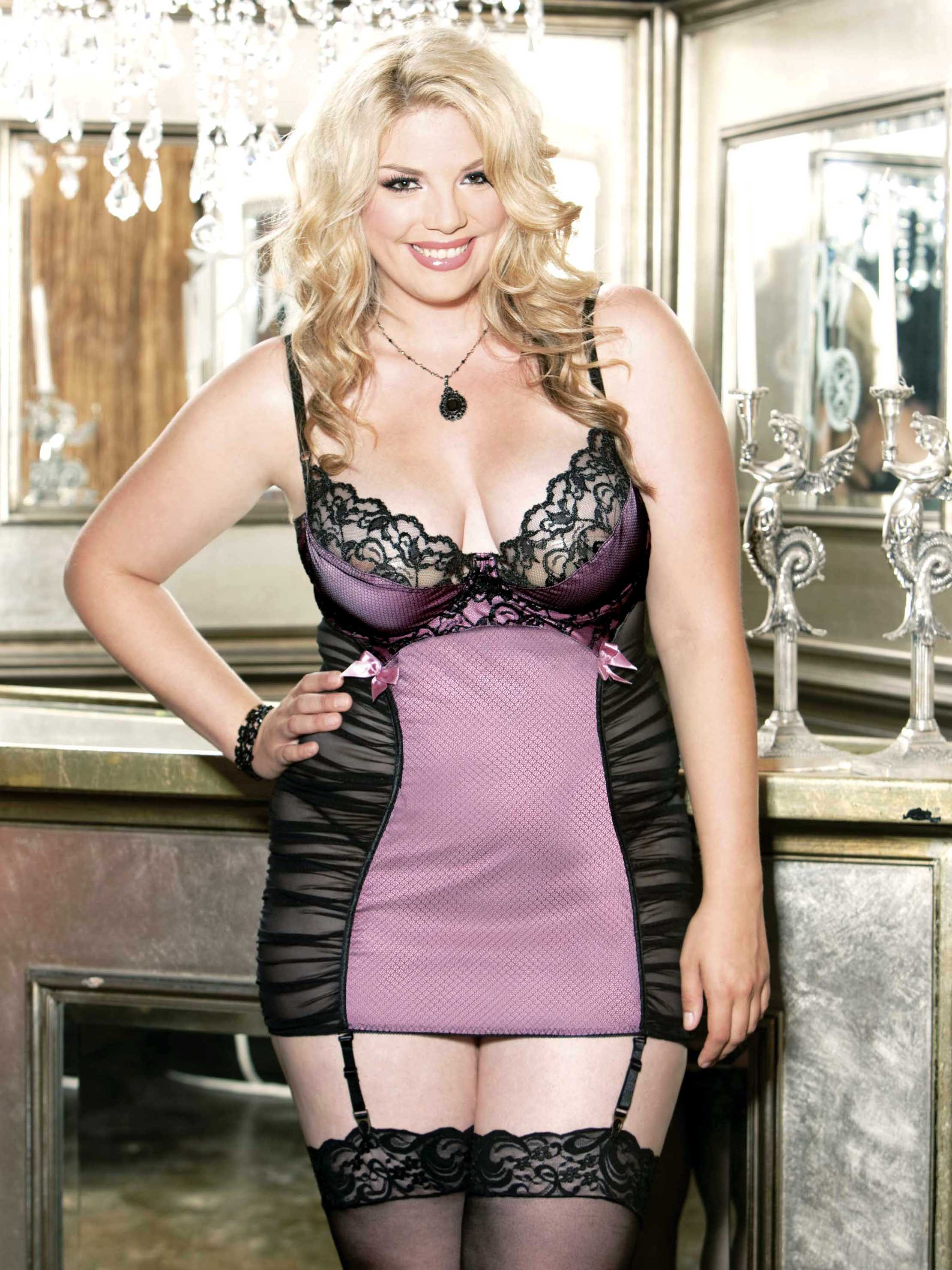 Plus Size Satin And Lace Chemise Set