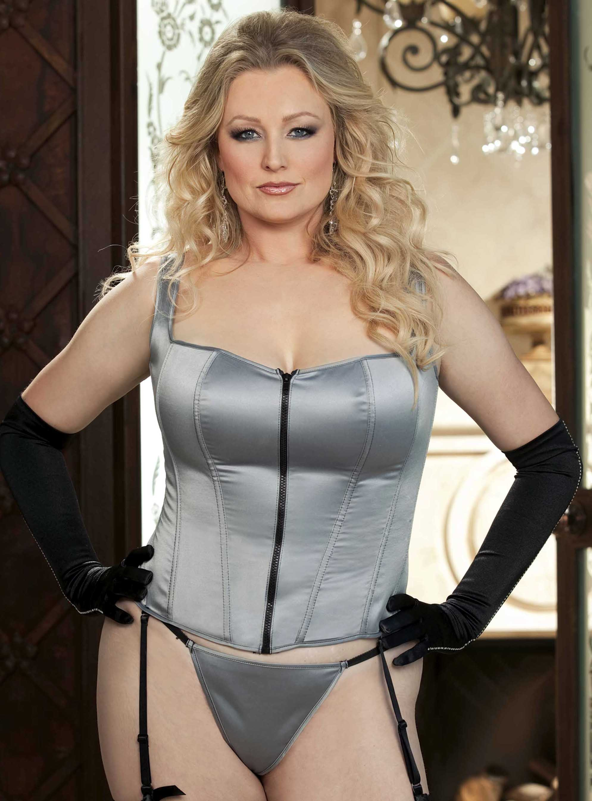 Plus Size Stretch Satin Corset