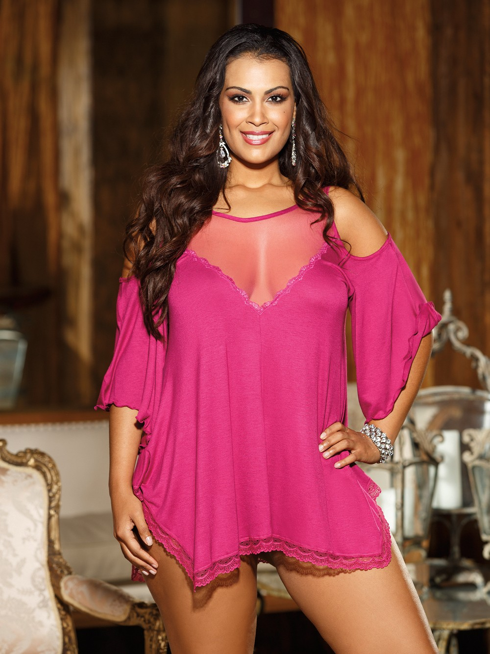 Plus Size Rayon Jersey Knit Sleepshirt