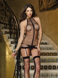 Strappy Seamless Dress With Attached Stockings