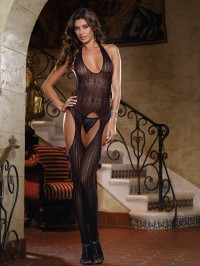 Crochet Stripe Suspender Bodystocking