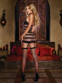 Opaque And Net Dress With Attached Stockings