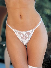 Scalloped Embroidery Crotchless Thong
