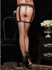 Back Seam Garter Belt Stockings With Ankle Bow