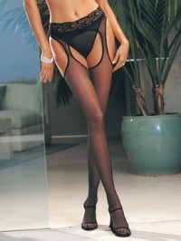 Lycra Sheer Garter Pantyhose With Lace Waist