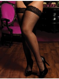 Plus Size Lace Top Fishnet Thigh Highs