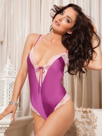 Silky Charmeuse And Lace Teddy