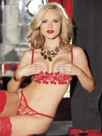 Flower Embroidery Open Bra And Panty Set