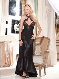 Charmeuse Cut Out Back Long Gown Set