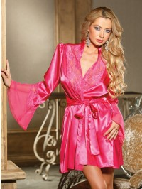 Elegant Charmeuse And Cut-Out Lace Robe