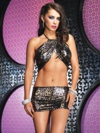 Leopard Foil Cut Out Dress