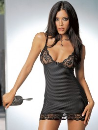 Striped Lace Cups Babydoll Set