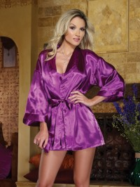 Sleepwear Babydoll and  Robe  with Attached Belt