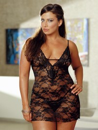 Plus Size Scallop Lace Babydoll Set