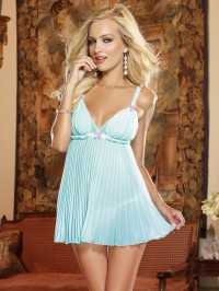 Pleated Chiffon 2 PC Babydoll Set