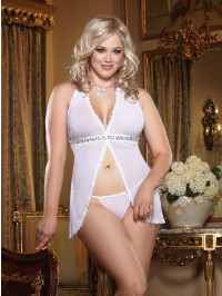 Plus Size Purple Fly Away Babydoll Set