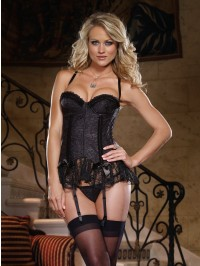Lace Overlay 2 PC Bustier Set