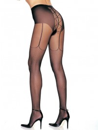Faux Fishnet And Garter Print Pantyhose