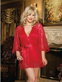Lace Robe And Satin Chemise Set