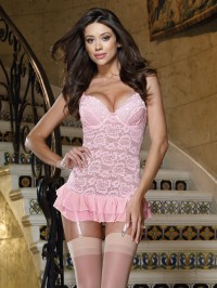 Stretch Lace Gartered Slip 2 PC Set