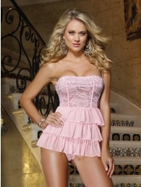 Lace Tiered Ruffle Babydoll 2 PC Set