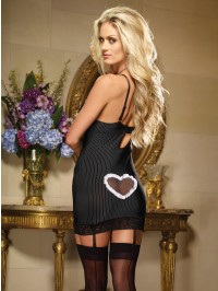 Pinstripe Heart Back Gartered Slip 2 PC Set