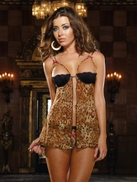 Leopard Babydoll With Open Crotch Thong