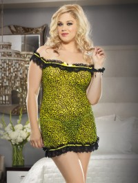 Plus Size Off Shoulder Chemise Set