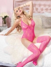 Lace Teddy And Stockings Set