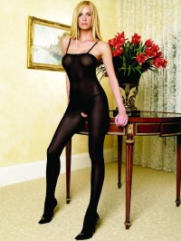  Opaque Open Crotch Bodystocking