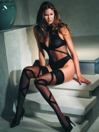 Woven Strap Teddy And Stockings