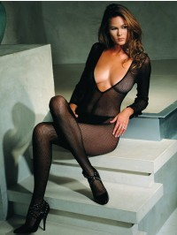 V Fishnet Bodystocking